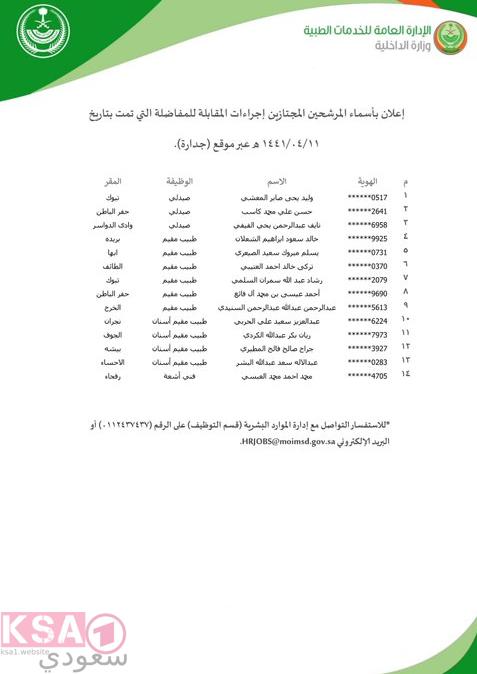 أسماء المرشحين  الخدمات الطبية وزارة الداخلية